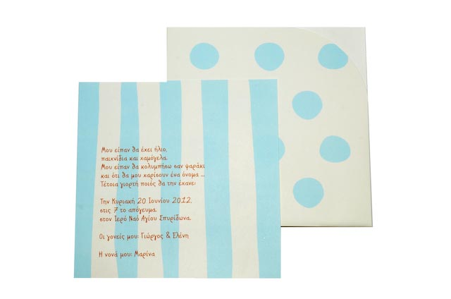 Polka dots light blue striped
